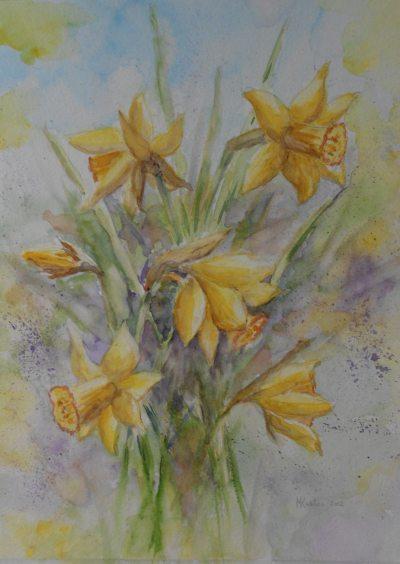 Narcissen 40 x 50 150 met zachtgroen passe partout in for Schilderijen van bloemen