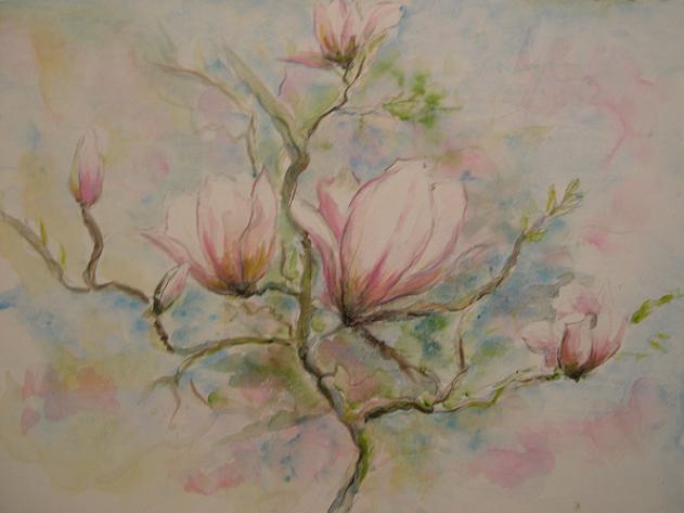 Magnolia 70 x 90 250 met passe partout in witte for Schilderijen van bloemen